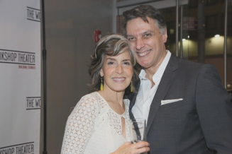 Our own Emily Zacharias toasts the night with Robert Cuccioli who sang to perfection.