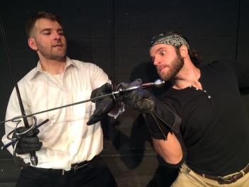 J.WARREN WEBER, Hamlet in a fantastic duel with KELSEY KURZ as Laertes.